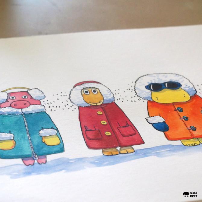 akvarel ilustrace zima