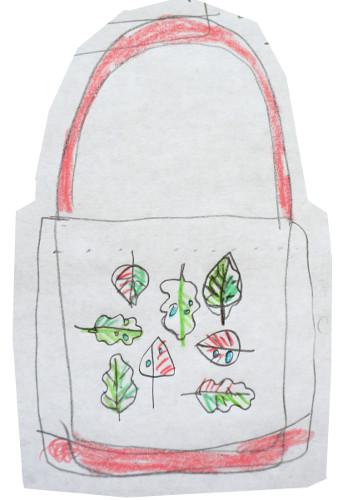 taška s výšivkou skica