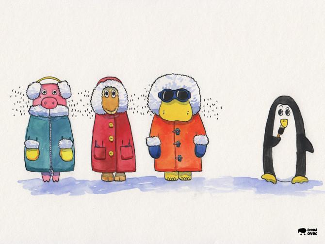 wallpaper - akvarelová ilustrace, zima, sníh, tučňák