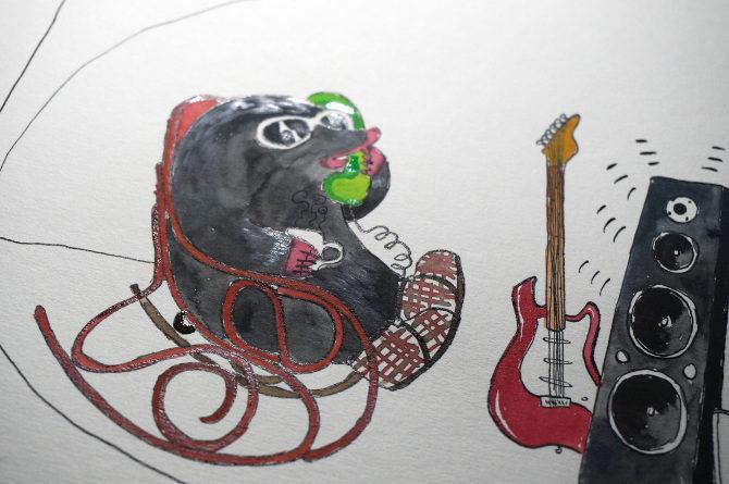 telefon krtek ilustrace akvarel