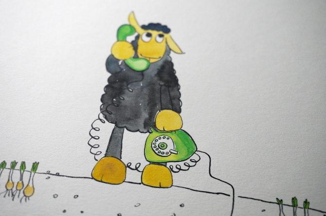 telefon ovečka ilustrace akvarel