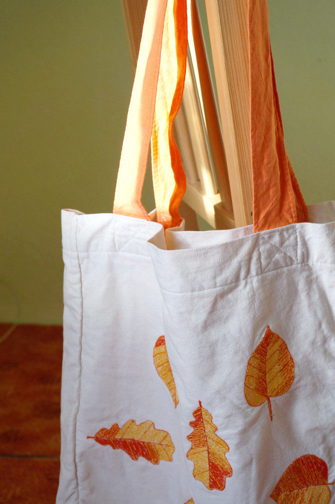 taška s výšivkou listy oranžová