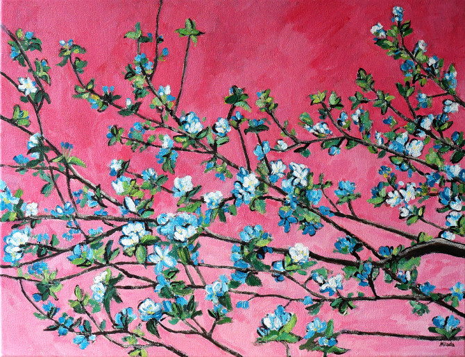 obraz na plátně - Kvetoucí strom v růžové
