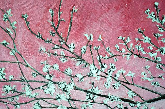 malování obrazu - kvetoucí strom růžová
