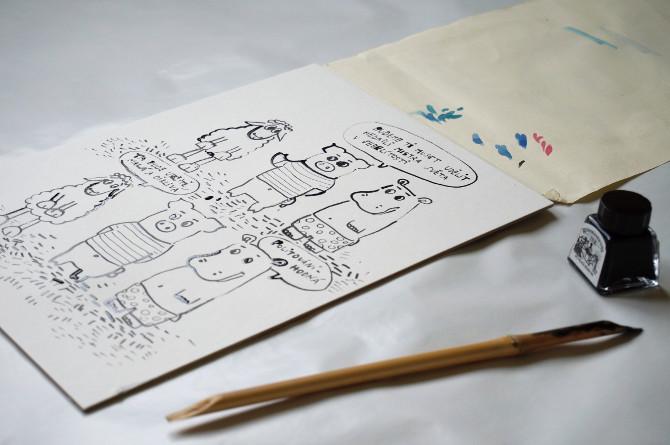 komiks černá ovec kreslení