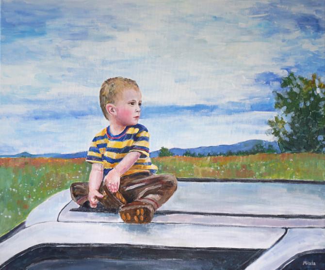 obraz - chlapec na autě