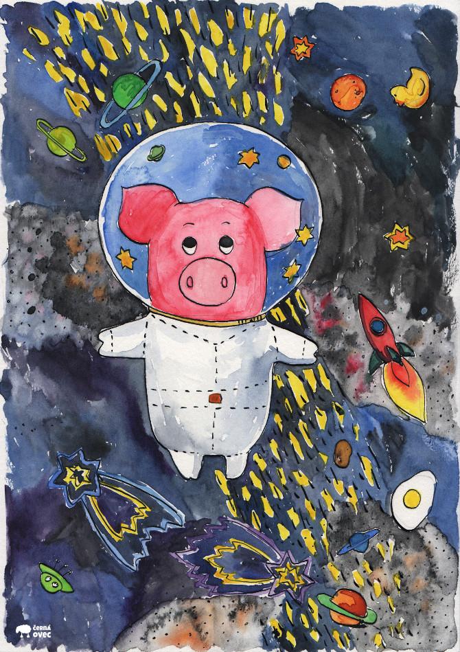 Kapitán Prasátko opouští Mléčnou dráhu - akvarel