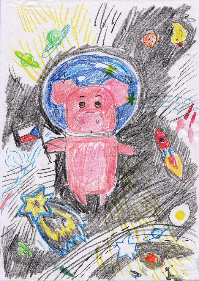 Kapitán Prasátko opouští Mléčnou dráhu - skica pastelky