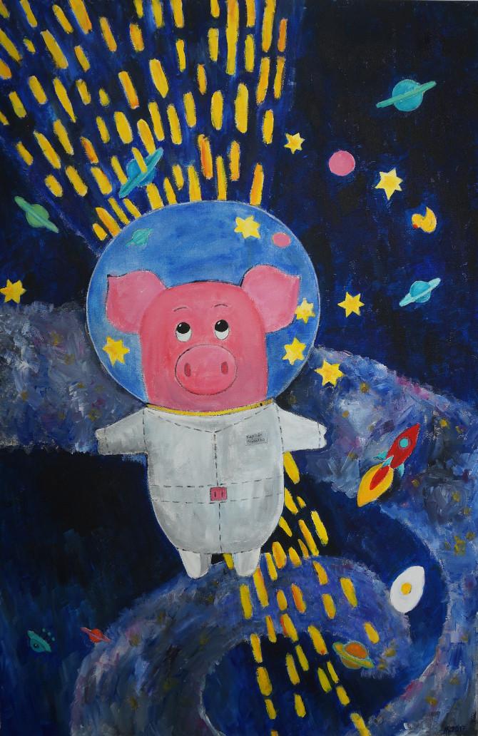 obraz - Kapitán Prasátko opouští Mléčnou dráhu - Captain Piggy leaving the Milky Way