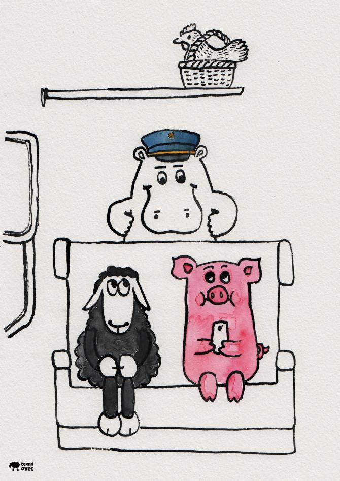 černý pasažér, ilustrace